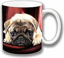 Süß Hellblond Mops Welpe Foto Keramik Kaffee Tasse Einzigartige Geschenkidee