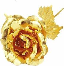 Süß Nelke Muttertag Geschenk 24K Gold Plated Dekoration goldene Blumen, Pretty zum Geburtstag Rose / Hochzeit / Freundin mit Luxus Geschenke Box (Rose-Gold)