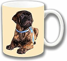Süße Gescheckter Bullmastiff Welpe Fotodruck Keramik Tee-/ Kaffeetasse Einzigartige Geschenkidee