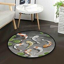 Süße Koi Karpfen Lotusblatt Runde Teppich für