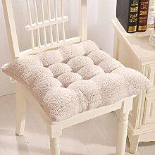 Süße Plüsch Sitzkissen Deko Winter Warm einfach Stuhl Kissen mit Bindebändern für Home Office Farbe, Plüsch, beige, 40 x 40 cm