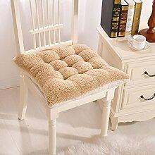 Süße Plüsch Sitzkissen Deko Winter Warm einfach Stuhl Kissen mit Bindebändern für Home Office Farbe, Plüsch, Beige/Tan, 40 x 40 cm