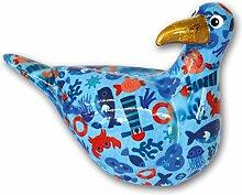 Süße Spardose ~ Möwe - hellblau mit Wasserwelt ~ Pomme Pidou Vogel Sparbüchse Geldgeschenk Geschenk