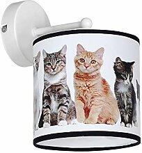 Süße Wandlampe Kinderzimmer Katzen Motiv E27