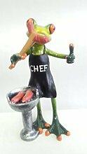 Süßer Frosch am Grill mit Bratwurst Deko Figur Dekoration Zierfigur Froschfigur