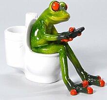 Süßer Frosch auf Toilette Deko Figur Dekofigur