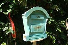 Süßer HBK-RD-BLAU Briefkasten, Holzbriefkasten