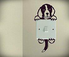 Süßer Hund Beagle Doggy Puppy Baby Pet Lichtschalter Funny Love Herz Vinyl Decor Home Live Kids Funny Art Wand Aufkleber Aufkleber
