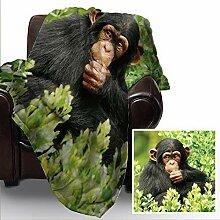 Süßes Baby Affe Design Fleece Weiche Decke