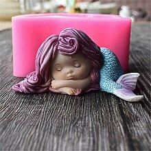 Süßes Meerjungfrau-Mädchen Silikon Fondant