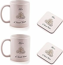 Sugar 6th Wedding Anniversary His and Hers Mug and Coasters gift set - by Ukgiftbox
