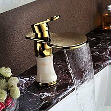 SUHANG Alle Kupfer Gold Basin Wasserhahn Warmes Und Kaltes Antiken Wasserhahn Jade Wasserfall Armatur Wasserhahn Im Europäischen Stil