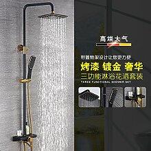 suhang Dusche Duscharmatur, warmes und kaltes Dusche Badezimmer schwarze Farbe Düse Armatur Dusche Regen Kostüm