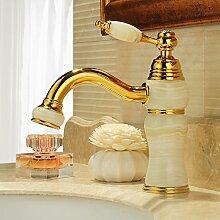 Suhang Kupfer Antik des Wasserhahn Hot und Kälte Kopf dem Gold Waschbecken Wasserhahn jade Wasserhahn Waschbecken