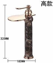 SUHANG Wasserfall Typ Wasserhahn Warmes Und Kaltes Kupfer Waschtisch Armatur Waschbecken Antike Faucethigh Abschni