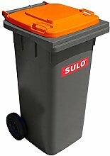 Sulo Mülltonne Grau mit Deckel Orange 120 Liter