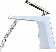 SUMERAIN Waschtischarmtur Wasserfall Wasserhahn Waschbecken Armatur Einhebelmischer Messing gold/weiß
