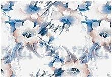 SUMGAR Vlies selbstklebende Tapete Blumen blau