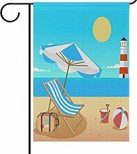 Summer Beach Lighthouse Garden Flag Banner,