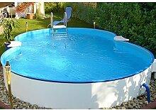 SUMMER FUN Set: Achtformpool mit Edelstahlleiter zum Teileinbau (5-tlg.) 320 cm, 525 cm, 120 cm