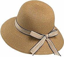 Summer hats hand-woven straw hat Frau Sommer faltbare britische Sonnenhut-Reise-Sonnenschutz-Ferien-Strand-Strand-Kappe, Größe: 9cm * 12cm * 56-58cm (Farbe : Braun)