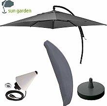Sun Garden Ampelschirm Easy Sun Plus 3,20x3,20m komplettes Set mit Schirmfuß und Schutzhülle (Anthrazit 1) > GH.010