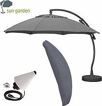 Sun Garden Ampelschirm Easy Sun Plus Ø3,75m komplettes Set mit Schirmfuß und Schutzhülle (Anthrazit) > GH.006