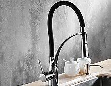 SUN LL Alle Kupfer Küchenarmatur Hot und kalt Gemüse Bassin Pull Waschbecken Wasserhahn kann Washing-up Waschbecken Wasserhahn ( farbe : Schwarz )