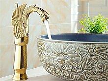 SUN LL Antique Messing Finish Gold hohen Schwan Wasserhahn, Waschbecken Wasserhahn