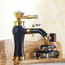 SUN LL Europäische Antike Farbe drehbare Wasserhahn, Waschbecken Wasserhahn ( farbe : Schwarz )