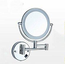 SUN LL Induktion Spiegelleuchten LED Teleskop-Wand doppelseitige Spiegel Klappspiegel vorne Lichter 8 Zoll ( Farbe : Silber )