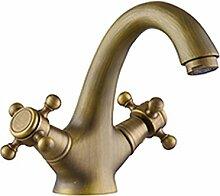 SUN LL Wasserhahn All Bronze Becken führende ländliche Retro Hot und Kalt Wasserhahn Einloch Waschbecken führen
