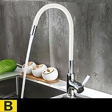 SUN ll-Wasserhahn Küche heißes und kaltes Wasser Wasserhahn Kupfer Wasserhahn Waschbecken Waschbecken Wasserhahn Universal Wasserhahn ( Farbe : B )