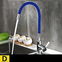 SUN ll-Wasserhahn Küche heißes und kaltes Wasser Wasserhahn Kupfer Wasserhahn Waschbecken Waschbecken Wasserhahn Universal Wasserhahn ( Farbe : D )