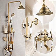 SUN neue dusche wasserhähne hat bad antiker messing ware regal und kleiderbügel keramik zwei griffe wandhängende dusche wasserhähne,gelb