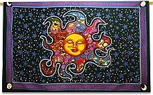 Sun Und Stern Indian Wandbehang Baumwolle Schwarz