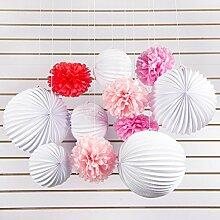 SUNBEAUTY 11er Papier Pompoms Lampions Partydekoration Feier Geburtstag Deko - Rosa, Pink und Weiß
