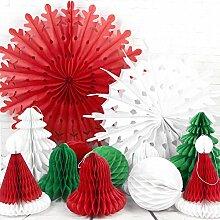 SUNBEAUTY 12er Set Weihnachten Papier Dekoration