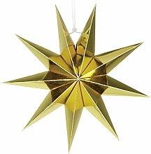 SUNBEAUTY 30cm Papier Stern Gold 3er Set