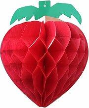 SUNBEAUTY 5er Set Erdbeere Papier Deko Obst