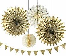 SUNBEAUTY 5er Set Gold Serie Tissue Papier Fächer