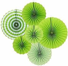 SUNBEAUTY 6er Set Papierfächer Grün Rosetten
