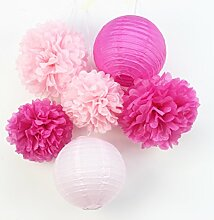 SUNBEAUTY 6er Set Rosa Pink Lampion PomPoms