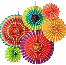 SUNBEAUTY 6er Set Tissue Papier Fans Fächer