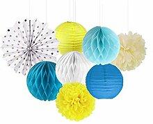 SUNBEAUTY Blau & Gelb Papier Dekoration 8er Set