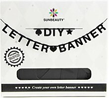 SUNBEAUTY DIY Buchstaben Girlande Schwarz Alphabet