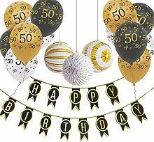 SUNBEAUTY Geburtstag Dekoration Gold Schwarz Happy
