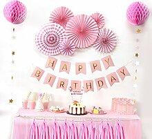 SUNBEAUTY Geburtstag Party Deko Rosetten BIRTHDAY Girlande & Wabenbälle & Tassels Dekoration Set (Rosa)