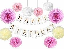 SUNBEAUTY Happy Birthday Girlande Geburtstag Set