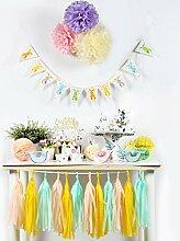 SUNBEAUTY Papier Ostern hängende Dekoration (Wimpel & Muffins Deko & Pompoms)